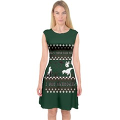 I Wasn t Good This Year, I Was Awesome! Ugly Holiday Christmas Green Background Capsleeve Midi Dress by Onesevenart