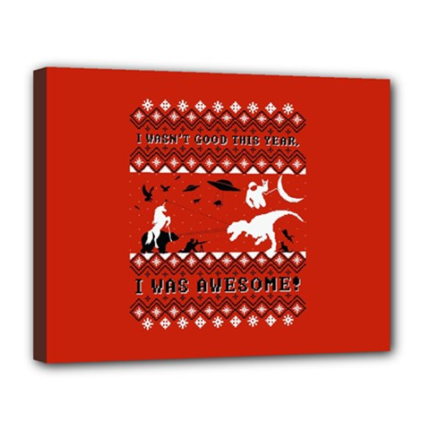 I Wasn t Good This Year, I Was Awesome! Ugly Holiday Christmas Red Background Canvas 14  X 11  by Onesevenart