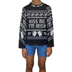 Kiss Me I m Irish Ugly Christmas Black Background Kids  Long Sleeve Swimwear by Onesevenart