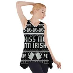 Kiss Me I m Irish Ugly Christmas Black Background Side Drop Tank Tunic by Onesevenart