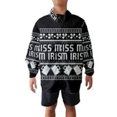 Kiss Me I m Irish Ugly Christmas Black Background Wind Breaker (kids) by Onesevenart