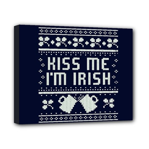 Kiss Me I m Irish Ugly Christmas Blue Background Canvas 10  X 8  by Onesevenart