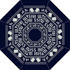 Kiss Me I m Irish Ugly Christmas Blue Background Folding Umbrellas by Onesevenart