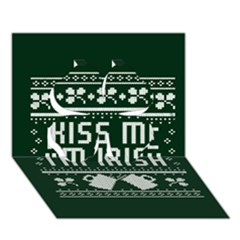 Kiss Me I m Irish Ugly Christmas Green Background Clover 3d Greeting Card (7x5) by Onesevenart
