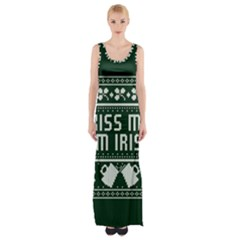 Kiss Me I m Irish Ugly Christmas Green Background Maxi Thigh Split Dress by Onesevenart