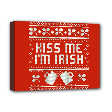 Kiss Me I m Irish Ugly Christmas Red Background Deluxe Canvas 16  X 12   by Onesevenart