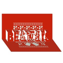 Kiss Me I m Irish Ugly Christmas Red Background Best Sis 3d Greeting Card (8x4) by Onesevenart