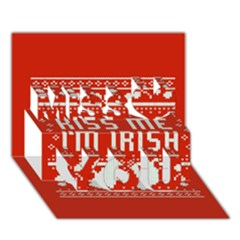 Kiss Me I m Irish Ugly Christmas Red Background Miss You 3d Greeting Card (7x5) by Onesevenart