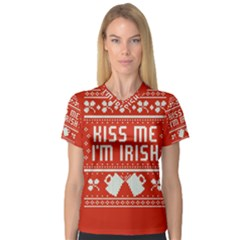 Kiss Me I m Irish Ugly Christmas Red Background Women s V Neck Sport Mesh Tee by Onesevenart