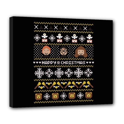 Merry Nerdmas! Ugly Christma Black Background Deluxe Canvas 24  X 20   by Onesevenart