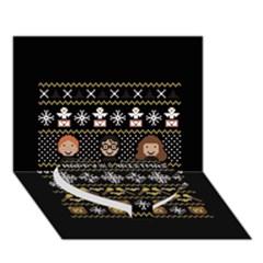 Merry Nerdmas! Ugly Christma Black Background Heart Bottom 3d Greeting Card (7x5) by Onesevenart