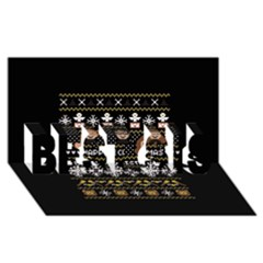 Merry Nerdmas! Ugly Christma Black Background Best Sis 3d Greeting Card (8x4) by Onesevenart