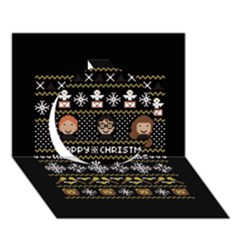 Merry Nerdmas! Ugly Christma Black Background Circle 3d Greeting Card (7x5) by Onesevenart