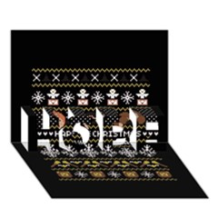 Merry Nerdmas! Ugly Christma Black Background Hope 3d Greeting Card (7x5) by Onesevenart
