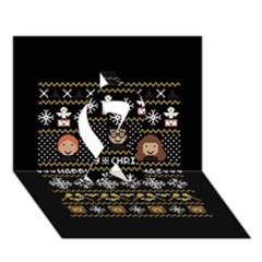 Merry Nerdmas! Ugly Christma Black Background Ribbon 3d Greeting Card (7x5) by Onesevenart