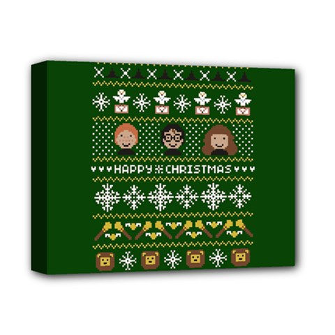 Merry Nerdmas! Ugly Christma Green Background Deluxe Canvas 14  X 11  by Onesevenart