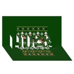 Merry Nerdmas! Ugly Christma Green Background Hugs 3d Greeting Card (8x4) by Onesevenart