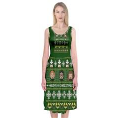 Merry Nerdmas! Ugly Christma Green Background Midi Sleeveless Dress by Onesevenart