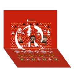Merry Nerdmas! Ugly Christma Red Background Peace Sign 3d Greeting Card (7x5) by Onesevenart