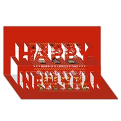 Merry Nerdmas! Ugly Christma Red Background Happy New Year 3d Greeting Card (8x4) by Onesevenart