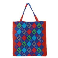 Minecraft Ugly Holiday Christmas Red Background Grocery Tote Bag by Onesevenart
