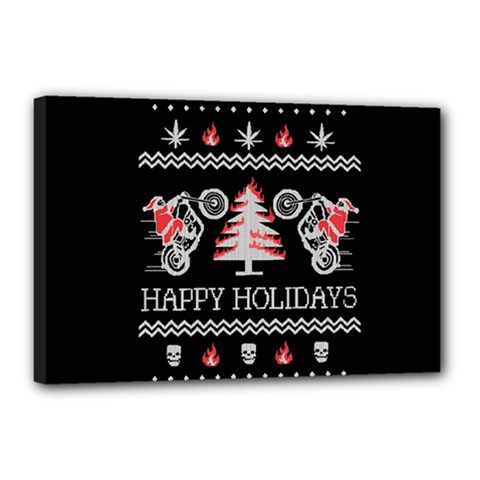 Motorcycle Santa Happy Holidays Ugly Christmas Black Background Canvas 18  X 12  by Onesevenart