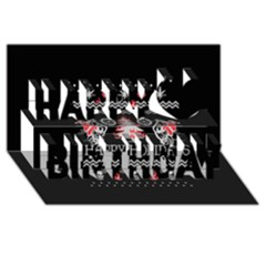 Motorcycle Santa Happy Holidays Ugly Christmas Black Background Happy Birthday 3d Greeting Card (8x4) by Onesevenart