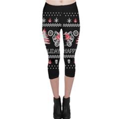 Motorcycle Santa Happy Holidays Ugly Christmas Black Background Capri Leggings  by Onesevenart