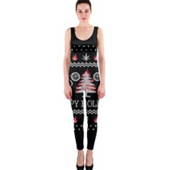 Motorcycle Santa Happy Holidays Ugly Christmas Black Background Onepiece Catsuit by Onesevenart