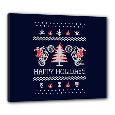 Motorcycle Santa Happy Holidays Ugly Christmas Blue Background Canvas 24  X 20