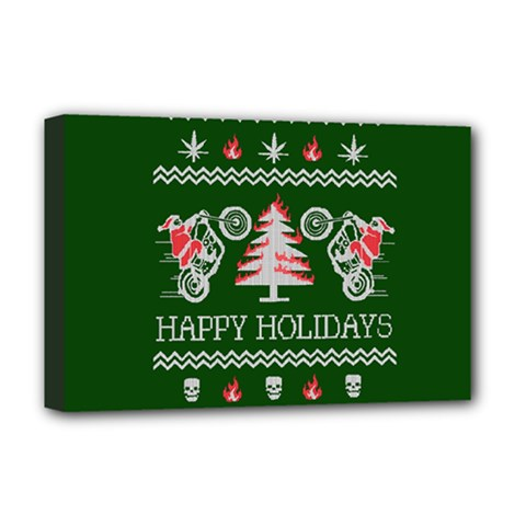 Motorcycle Santa Happy Holidays Ugly Christmas Green Background Deluxe Canvas 18  X 12   by Onesevenart