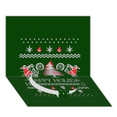 Motorcycle Santa Happy Holidays Ugly Christmas Green Background Circle Bottom 3d Greeting Card (7x5) by Onesevenart