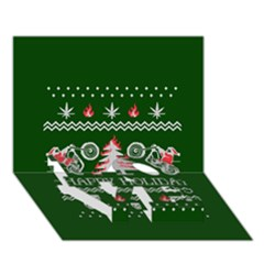 Motorcycle Santa Happy Holidays Ugly Christmas Green Background Love Bottom 3d Greeting Card (7x5) by Onesevenart