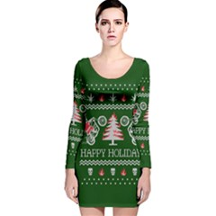 Motorcycle Santa Happy Holidays Ugly Christmas Green Background Long Sleeve Velvet Bodycon Dress by Onesevenart