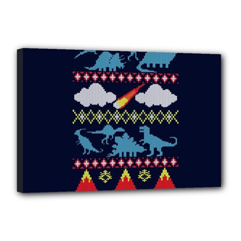 My Grandma Likes Dinosaurs Ugly Holiday Christmas Blue Background Canvas 18  X 12  by Onesevenart
