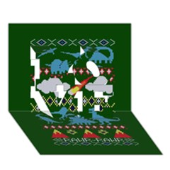My Grandma Likes Dinosaurs Ugly Holiday Christmas Green Background Love 3d Greeting Card (7x5) by Onesevenart