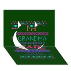 My Grandma Made This Ugly Holiday Green Background Heart 3d Greeting Card (7x5) by Onesevenart