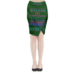 My Grandma Made This Ugly Holiday Green Background Midi Wrap Pencil Skirt by Onesevenart