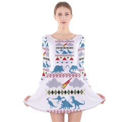 My Grandma Likes Dinosaurs Ugly Holiday Christmas Long Sleeve Velvet Skater Dress by Onesevenart