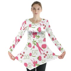 Eat Pattern Tomato Cerry Friute Long Sleeve Tunic  by AnjaniArt