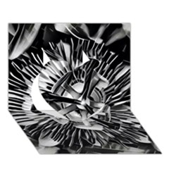Black And White Passion Flower Passiflora  Heart 3d Greeting Card (7x5) by yoursparklingshop
