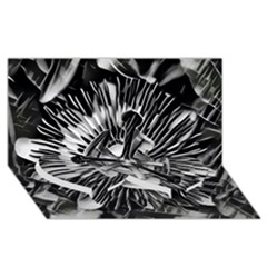 Black And White Passion Flower Passiflora  Twin Heart Bottom 3d Greeting Card (8x4) by yoursparklingshop