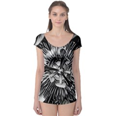 Black And White Passion Flower Passiflora  Boyleg Leotard  by yoursparklingshop