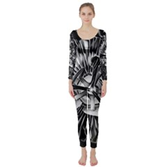 Black And White Passion Flower Passiflora  Long Sleeve Catsuit by yoursparklingshop
