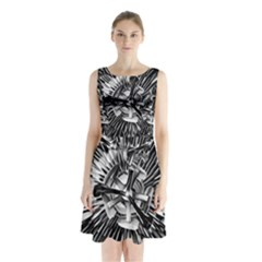 Black And White Passion Flower Passiflora  Sleeveless Chiffon Waist Tie Dress by yoursparklingshop