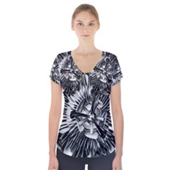 Black And White Passion Flower Passiflora  Short Sleeve Front Detail Top by yoursparklingshop