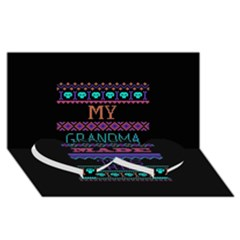 My Grandma Made This Ugly Holiday Black Background Twin Heart Bottom 3d Greeting Card (8x4) by Onesevenart