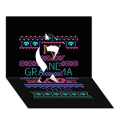 My Grandma Made This Ugly Holiday Black Background Ribbon 3d Greeting Card (7x5) by Onesevenart