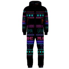 My Grandma Made This Ugly Holiday Black Background Hooded Jumpsuit (men)  by Onesevenart