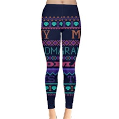 My Grandma Made This Ugly Holiday Blue Background Leggings  by Onesevenart
